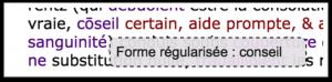 Affichage au survol de la forme régularisée du mot.