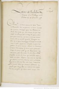 Lettres de Rabelais à Monseigneur de Maillezais (Geoffroy d'Estissac), 30 décembre 1536, Dupuy 606, f. 64r-68v, 5 ff. Crédits : Gallica.
