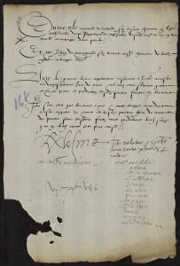 Arrêt allographe au rapport de Montaigne du 7 septembre 1565 - Archives départementales de la Gironde, Bordeaux