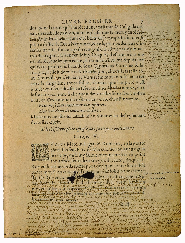 Bibliothèque de Bordeaux, S 1238 Rés.coffre, « De Democritus & Heraclitus » f. 7. Numérisation P. Desan, U. de Chicago.