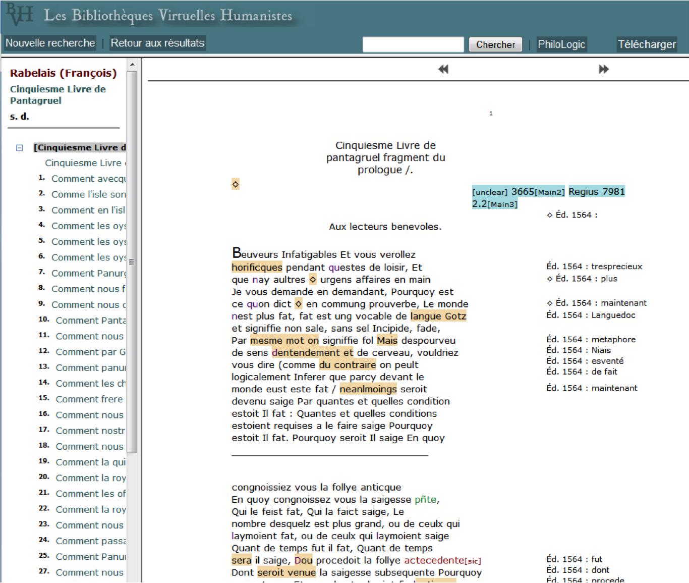 Affichage Epistemon de l'édition XML-TEI du Manuscrit du 5e Livre