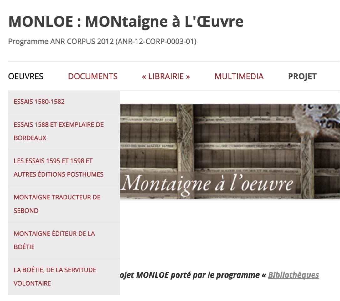 Page d'accueil et menu du site MONLOE